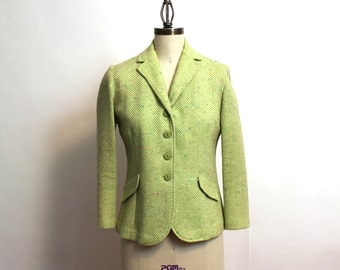 1970s preppy herringbone tweed blazer - size small - green and white single breasted fitted jacket - retro Sears Roebuck