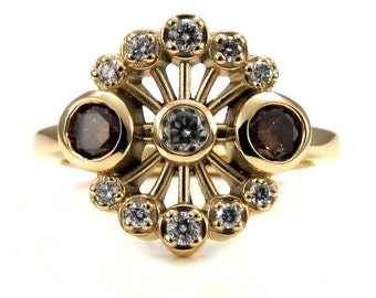 Unusual Art Deco Enagagement Ring - Brown Diamonds and White Diamonds - 14k Yellow Gold READY TO SHIP Size 5-7