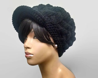 MADE TO ORDER Black Chunky hand knit cabled Slouch hat and beanie with brim free matching crochet earrings (not pictured)