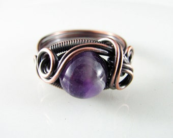 Wire Wrapped Ring Genuine Amethyst February Birthstone Ring Size 8.5 Copper Ring Dragons Eye Ring Wire Wrapped Jewelry Copper Jewelry