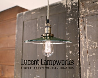 Lighting With Green Mirrored Enamel Shade and Reproduction Wire
