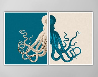 Giant Octopus Print Set, Custom Colored, Nautical Art Prints, Octopus Nautical Art, Octopus Art Print, Octopus Poster, Linen Textured Poster