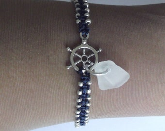 Macrame friendship bracelet. Sea glass bracelet - nautical bracelet.