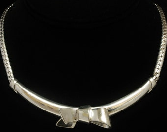 "Christian Dior Sterling Silver Necklace Bow Center 14.25"" Long"