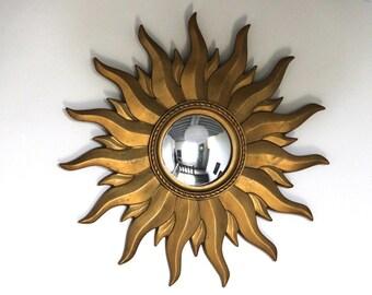 Vintage French Gold Sunburst Mirror Mid Century Starburst Convex Mirror