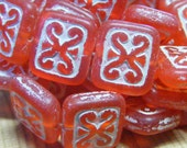 ROUGE . Picasso Czech Glass Rectangle Beads. 10 each . 12x11mm . matte red . (bk0311)