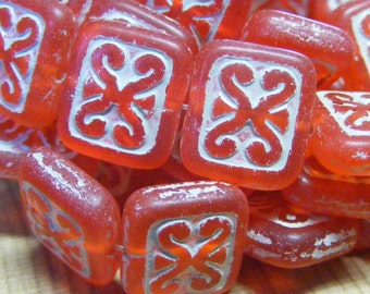 Picasso Czech Glass Rectangle Beads. 10 each . 12x11mm . matte red . (bk0311)