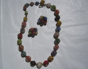 Vintage Italian Venetian Colorful Glass Bead Necklace and Earring Set