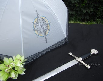 Hand Painted Parasol, Waterproof Parasols, Sun Parasol, Parasol Name: Stenciled Compass Rose, Umbrella, Parasol, Parasols, navigation