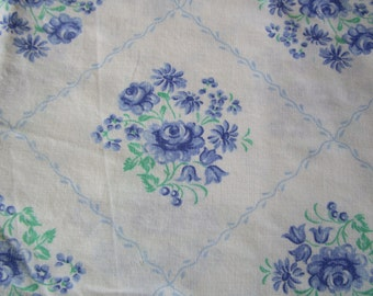 Vintage French Fabric Blue Roses Daisies Green Leaves Diamond shapes Suitable for Patchwork Quilting, Lavender Bags Feedsack