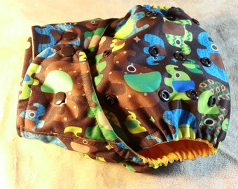 SassyCloth one size pocket cloth diaper with chocolate elephants PUL print. Ready to ship.