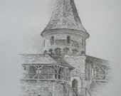 The tower. Original Pencil drawing. Medieval landscape.