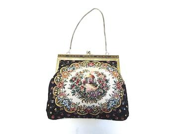 Vintage Handbag Tapestry Little Black Purse Needlepoint