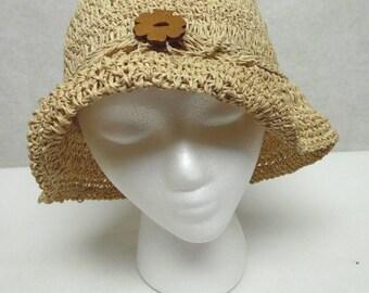 Natural Fiber Cloche Hat Ladies Millinery Sun Bucket Cap