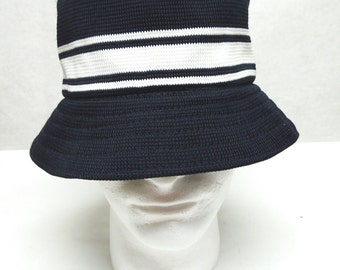 Dark Blue White Cloche Hat Knit Millinery Sun Bucket Cap