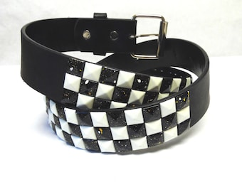 Studded Belt Leather Black And White Checkerboard Large