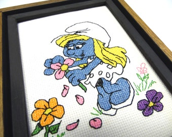 Smurfette Cross Stitch Wall Hanging Picture Smurf Kids Decor