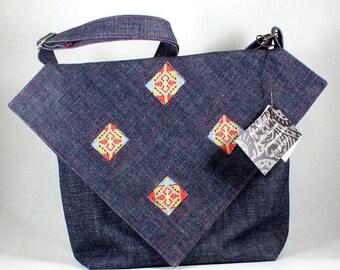 Denim bag. Blue denim messenger bag. Unique applique denim bag. Original designer bag by delisa. OOAK ladies bag. Handmade in France.