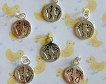 Baby Charms ~ Silver Feet Charms,  6 in lot,  Double sided, new moms, new baby, baby shower,
