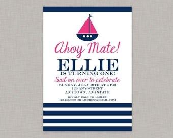 Girl Nautical Invitation, Nautical Birthday Invitation, Nautical Birthday Party