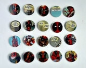 Buy 5 Get 1 FREE--Comic Pin Back Buttons Featuring Deadpool Lady Deadpool