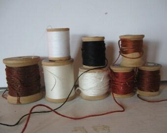 set of 8 vintage wooden thread spools brown white black rust clarks Star