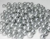 tiny silver glitter balls foam 3mm to 8mm miniature deco marbles 150 pcs heaping tablespoon / 15ml mini crafts kawaii decoden polystyrene