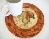 Coiled Fabric Trivet Mug Rug Candle Mat Fall Autumn Decor