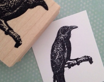 Raven on Branch Rubber Stamp 3863