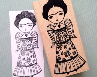 Frida with wings rubber stamp 6559