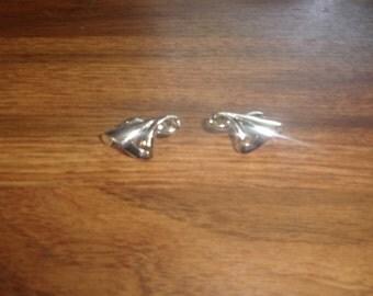vintage clip on earrings silvertone coro