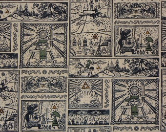 Legend of Zelda,  By the Yard, Zelda Fabric, Wind Waker, Nintendo Fabric, Neutral Comic, Comic Strip Fabric