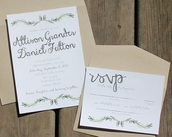 Garden Vine Style Wedding Invitation Suite Natural Organic Invite Card RSVP Simple Elegant