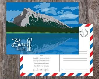 Banff Mount Rundle Mountain Wedding Invite Set Alberta Rocky Mountain