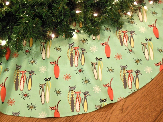 Mid Century Modern Christmas Tree Skirt with Cats Atomic