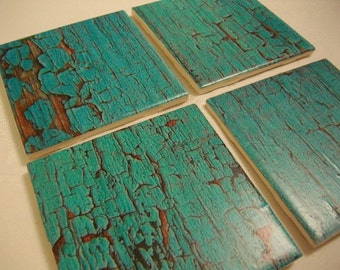 Rustic Custom Coasters - Blue Teal Barn Wood Distressed Vintage Style Tile Coasters Set of 4 Custom