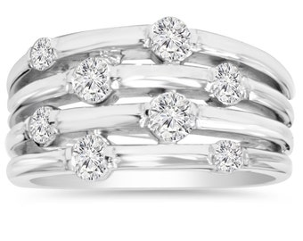 1.00CT White Gold Diamond Right Hand Ring Journey 14K Size 4-10