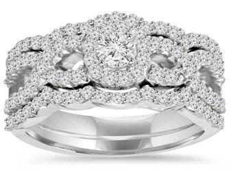 1.10Ct Diamond Bridal Engagement Ring Set 10K White Gold