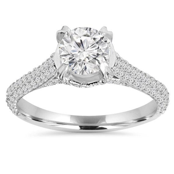 Engagement Ring 1.70CT Micro Pave Lab Created Diamond
