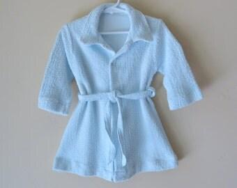 1950 Toddler Bath Robe Blue Size 2 Turknit 550a