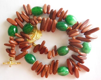 Shiny Red on Green Jade , Gemstone handmade Necklace 760