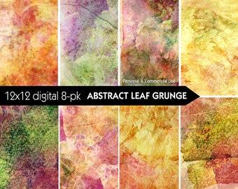Grunge Backgrounds - Abstract Leaves - Digital Paper Pack - INSTANT DOWNLOAD - for Scrapbooking, Journaling, Decoupage, Collage, Crafts