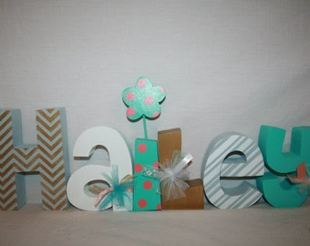 Custom wood letters, Gold and turquoise decor, Gold decor, Nursery letters, Wooden letters, 12.00 per letter, Girl room decor, Wood letters