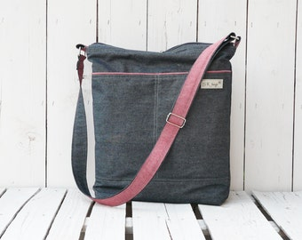 Canvas Diaper bag, Navy blue nappy bag, Zipper changing pack, Messenger Cross Body, Weekender bag, Unique handmade gift for women
