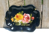 Vintage Metal Chippendale Tole Tray Roses/Floral Black Hand Painted5 3/4 x 7 3/4 in