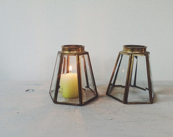 Brass & glass Hurricane / brass candle sconces / glass terrarium