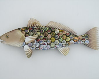 Upcycled Bottlecap Red Fish Art Beer Bottle Cap Red Drum Art