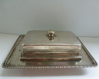 Vintage Silver Plated Butter Dish with Glass Insert EPNS Made in England Covered Butter Dish
