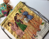 Knapsack, Too Cool for School Girls, Backpack, Cinchsack, Paint, Art bag, iPad, Sketchbook, Travel, Cool, Modern, Fashion, Sewing, Fun