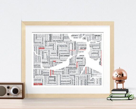 Boston Typography Map 8x10 Print